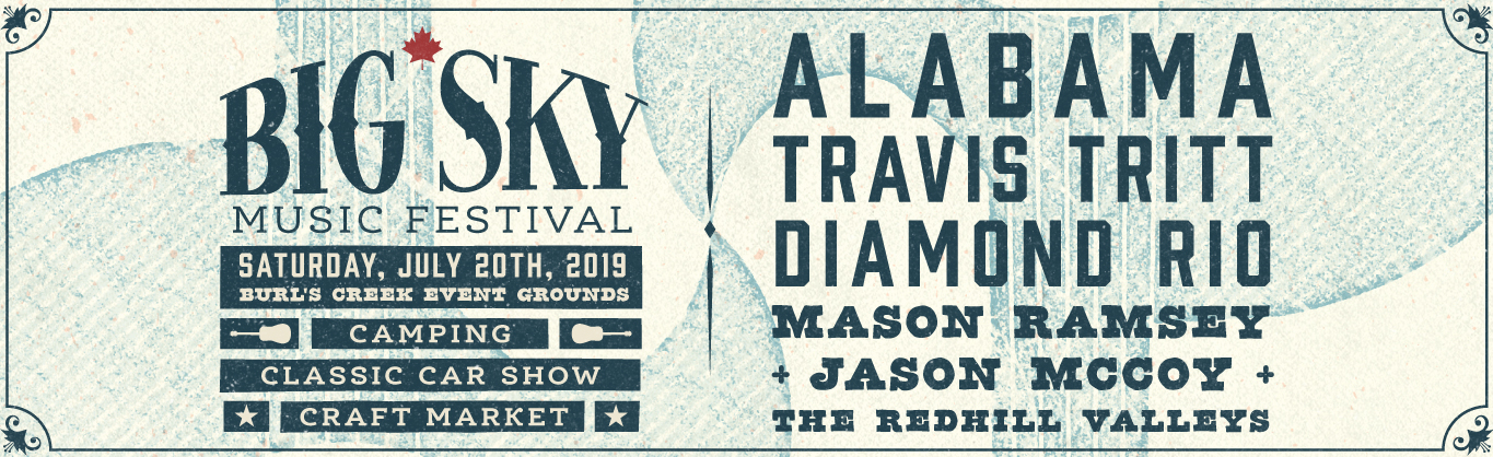 Big Sky Music Festival Poster featuring beige background, blue text, event logo and dates