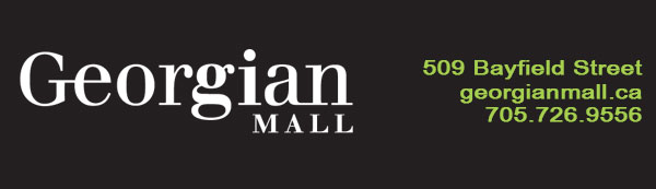 Georgian mall white logo on left with address and phone in green on the right all on black backdrop