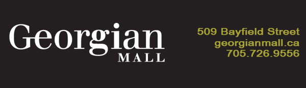 Georgian Mall white logo on black background with green address and phone on the right