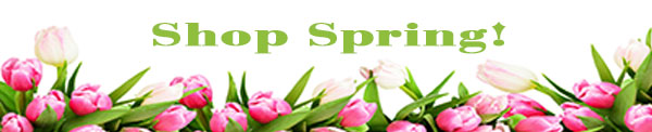 Shop Spring green text with pink and white tulips below