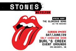 Rolling Stone No filter tour ad including logo on the left and concert details on the right