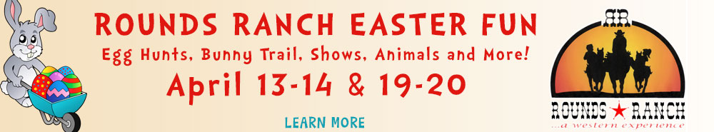 Rounds Ranch Easter advertising with red text on beige gradient background with bunny clipart on left and logo on right
