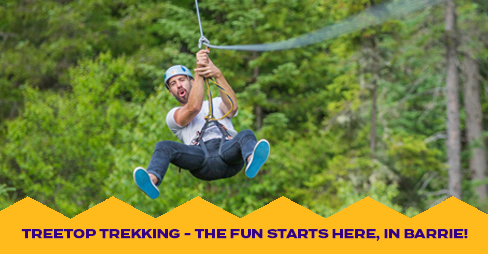 "Man ziplining at Treetop Trekking with yellow banner on the bottom stating ""fun starts here, in barrie"""