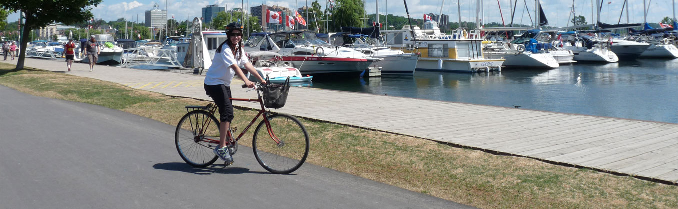 Student on a cycle adventure on Barrie's waterfront