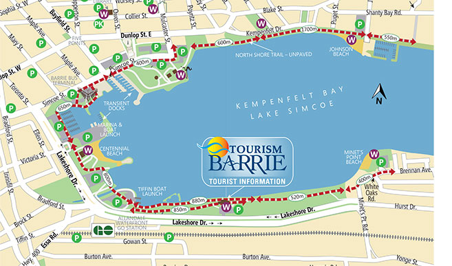 Illustration of the City of Barrie Waterfront Trail Map