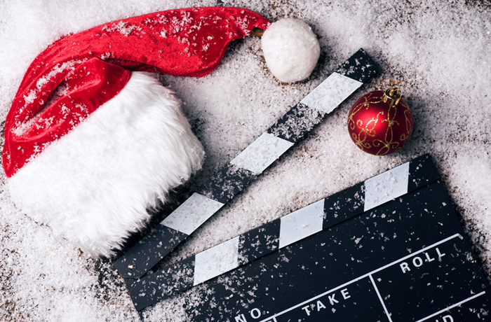 Christmas Movies - Santa hat and clapper board