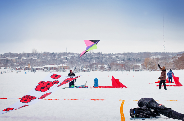 snow kites on kempenfelt bay during winterfest