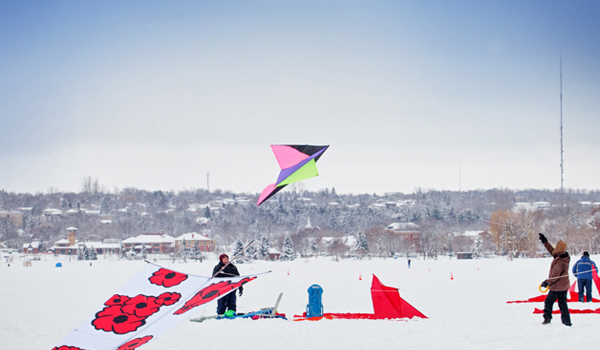 people flying kites on kempenfelt bay