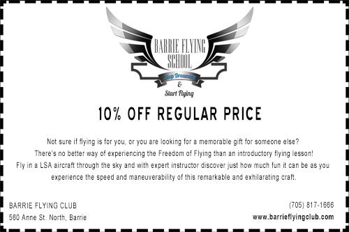 Barrie Flying Club coupon