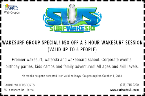 Coupon for Barrie Watersports Wakesurf Group Special