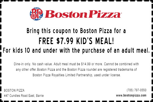Boston Pizza North Barrie Free Kids Meal coupon