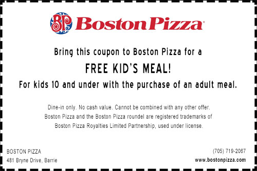 Coupon for a free kid's meal at Boston Pizza south Barrie including the dotted border and logo