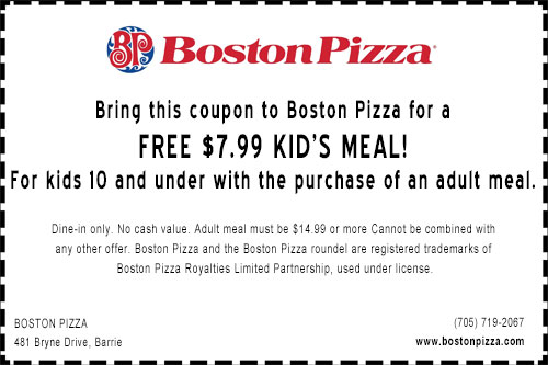 Boston Pizza Bryne Drive Barrie kids free coupon