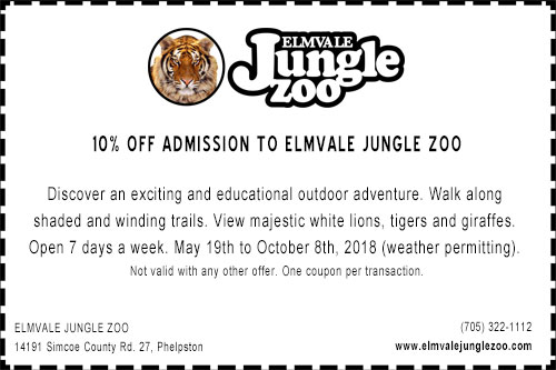 Elmvale Jungle Zoo 10% off admission coupon