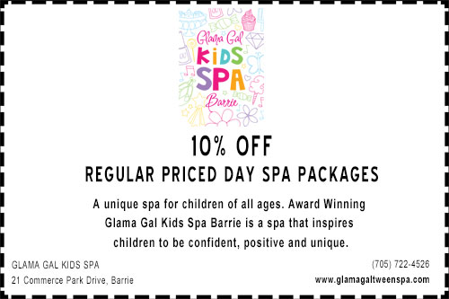 Coupon for 10% off at Glama Gal kids spa in Barrie