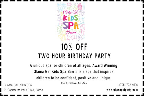 Discount coupon for 10% off a birthday party at Glama Gal kids spa in Barrie
