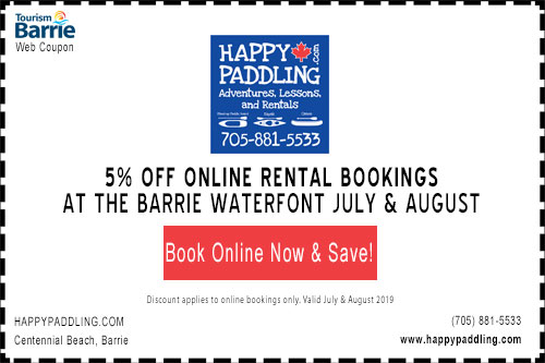 5% off rentals for online bookings with happypaddling barrie