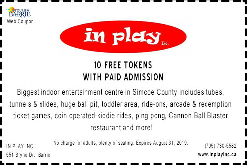 Coupon for 10 free token with paid admission to In Play Barrie
