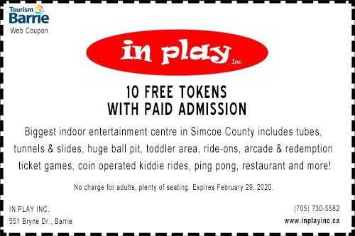 10 free tokens with paid admission to In Play Barrie coupon