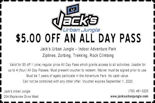 $5.00 off admission coupon for Jack's Urban Jungle expiring September 2020