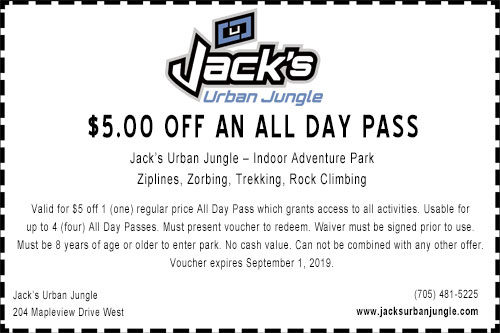 Coupon for $5 off all day pass at Jack's Urban Jungle