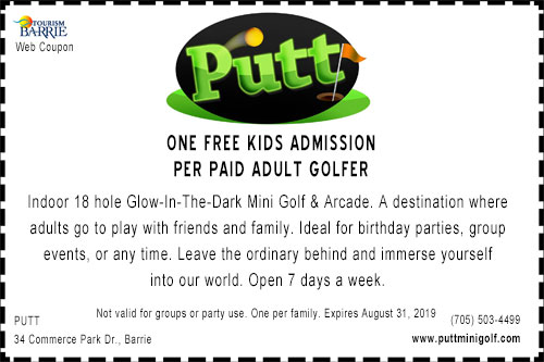 Coupon for one free kids admission ad Putt Mini Golf Barrie