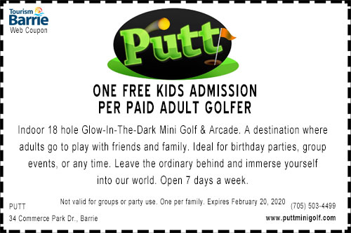One free kids admission to Putt mini golf in Barrie