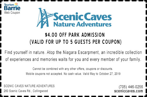 Scenic Caves Collingwood 2019 $4 off park admission coupon