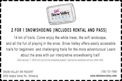 Coupon for 2 for 1 snowshoeing at Snow Valley ski resort