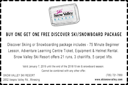 Snow Valley buy one get one free ski coupon