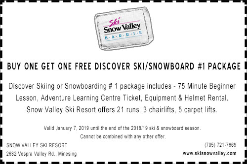 Snow Valley discover ski and snowboard package 1 coupon