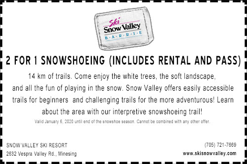 Snow Valley Ski Resort 2 for 1 snowshoeing coupon