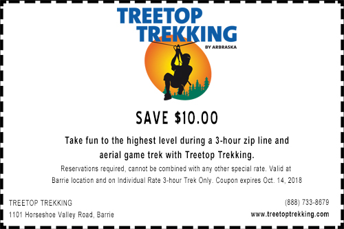 $10 off coupon for Treetop Trekking in Barrie