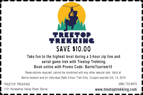 $10 off coupon for a  3-hour treetop trekking at horseshoe resort