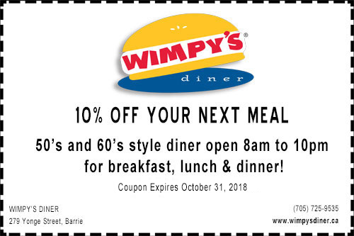 A discount coupon for 10% off at Wimpy's Diner in Barrie