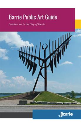 "Cover image of the Barrie public art guide for 2019 featuring the ""Spirit Catcher"" sculpture"