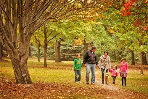Family fall hike through Barrie's Arboretum