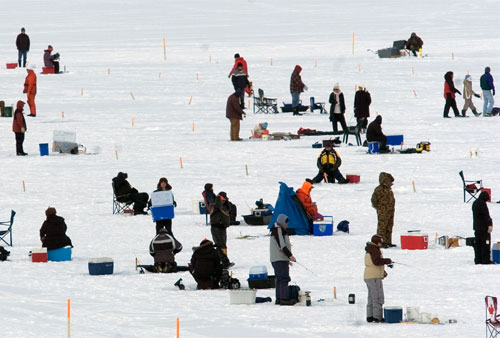 Ice Fishing on Kempenfelt Bay, Barrie