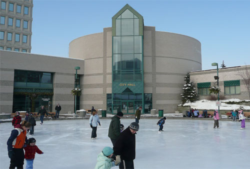 Skating in front of Barrie's City Hall