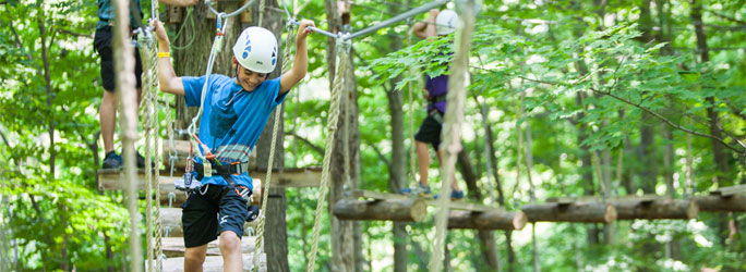 Treetop Trekking image with boy in helmet on bridge