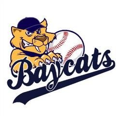 "Barrie Baycats logo with beige sabertooth cat holding a baseball  and ""Baycats written in blue underneath"