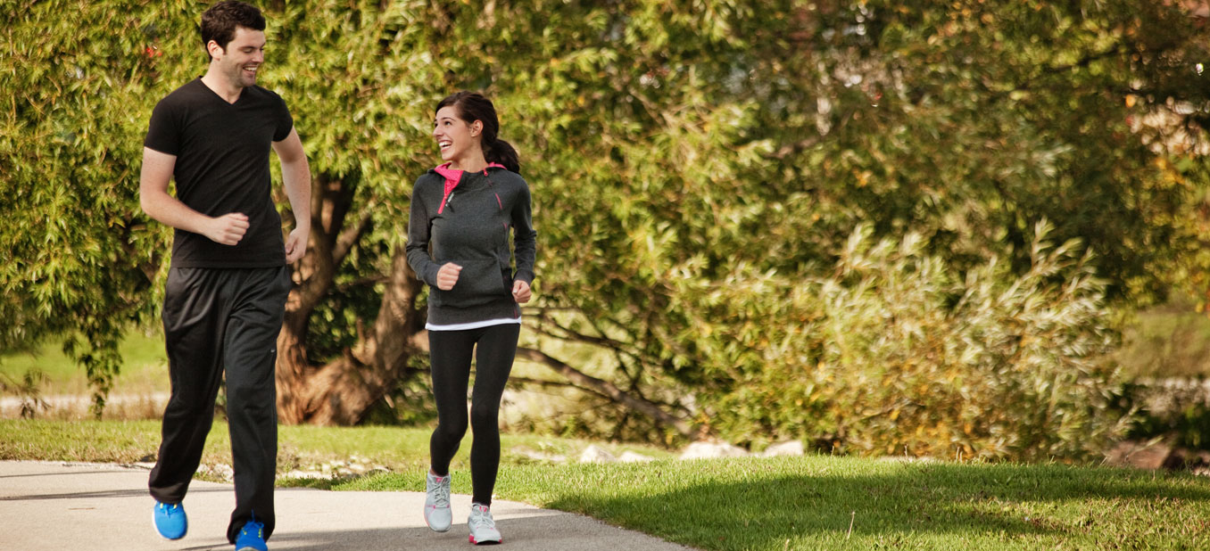 Jogging couple on the trails